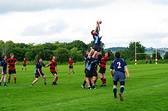 Students playing rugby