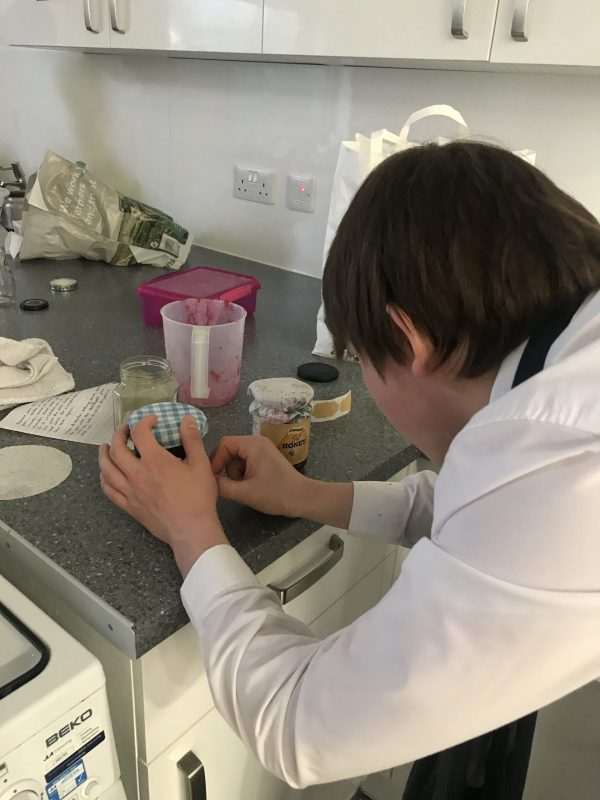 Ben in food tech making homemade jam